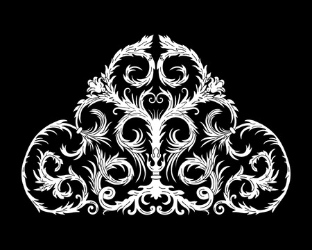 Baroque style ornament design. Retro ornamental background. Baguette frame corner. Vintage decorative pattern. EPS 10 vector illustration.