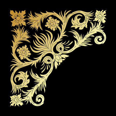 Baroque style gold ornament design. Retro ornamental gradient golden metallic background. Baguette frame corner. Vintage decorative pattern. EPS 10 vector illustration.