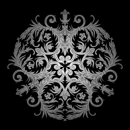 Baroque style rosette ornament design. Retro ornamental gradient silver metallic background. Vintage decorative pattern. EPS 10 vector illustration. Illusztráció