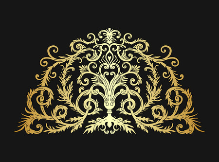 Baroque style gold ornament design. Retro ornamental gradient golden metallic background. Vintage decorative pattern. Antique graphic border. EPS 10 vector illustration.
