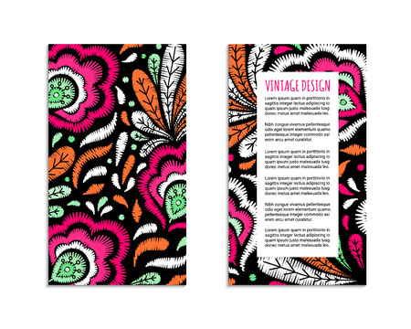 Embroidery style flyer with bright colorful flower and leaf pattern. Ethnic ornamental blanks. Rustic design brochures inspired by russian khokhloma ornament. EPS 10 vector. Clipping masks