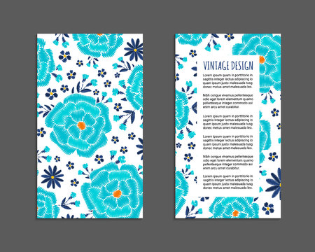 Embroidery style flyer with bright colorful flower and leaf pattern. Ethnic ornamental blanks. Rustic design ornament brochures. EPS 10 vector. Clipping masks