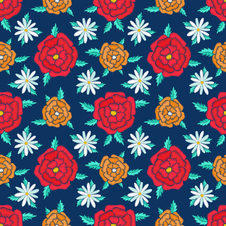 Embroidered seamless pattern design. Needlework floral composition. Bright colorful summer flower motives. EPS 10 vector embroidery fashion background. Illusztráció