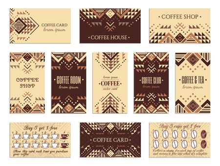 Visit card design set with loyalty program for coffee shops, tea houses and rooms in african style. Vertical, horizontal layouts. Ethnic design ornament. EPS 10 vector template collection.  イラスト・ベクター素材