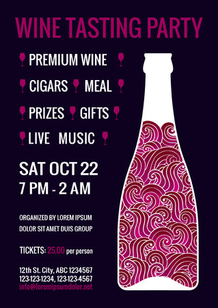 Wine tasting party flyer. Stylized bottle of red sparkling drink with swirls inside. Degustation invitation. EPS 10 vector design template.