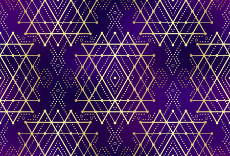 Gold violet seamless sacred geometry pattern. Golden sacral geometric pattern for fabric prints, surface textures, cloth design, wrapping. EPS10 vector gradient mesh backdrop.