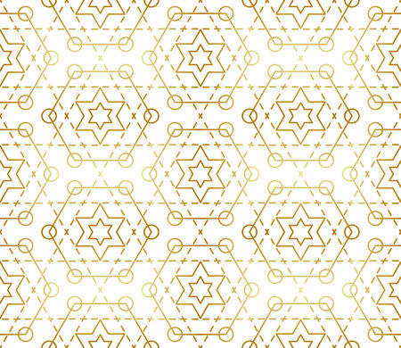 Gradient gold white seamless sacred geometry pattern. Golden sacral geometric pattern for fabric prints, surface textures, cloth design, wrapping. EPS10 vector backdrop. Illustration