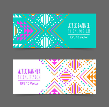 Bright colorful horizontal banner design template set with tribal aztec style ornament. Ethnic background collection. EPS 10 vector website header concept illustration. Clipping mask.
