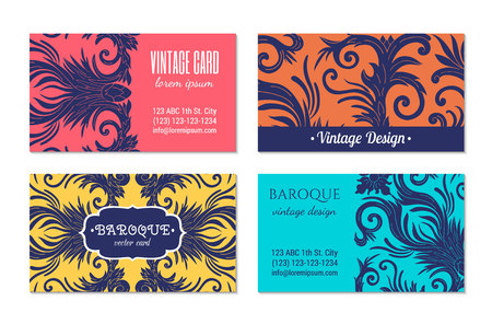 French baroque style elegant ornate visiting cards. Luxurious fashionable ornamental flyer design. Vintage fancy ornament decoration. Pathetic retro embellishment. EPS 10 vector brochure template