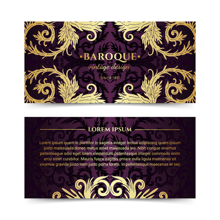 French baroque elegant ornate flyers. Luxurious gold ornamental banner design. Vintage fancy ornament decoration. Pathetic retro embellishment. Silky dark background. Vector brochure template