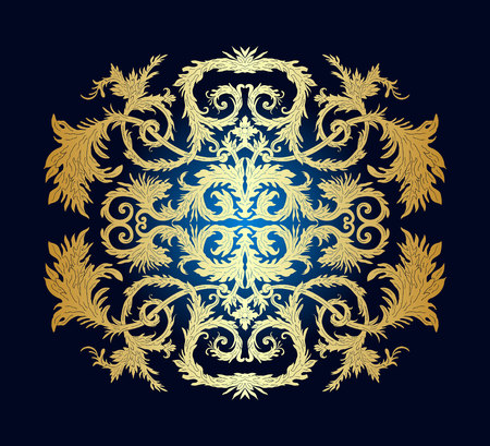 French baroque heraldic elegant ornate background. Luxurious fashionable gold ornamental design. Invitation card, party flyer, certificates, cards, brochures.