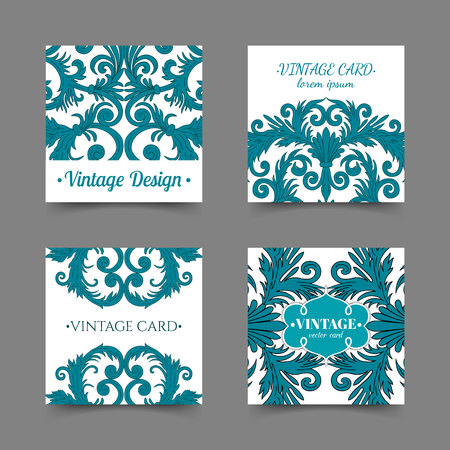 French baroque elegant ornate blue visiting cards. Luxurious fashionable ornamental flyer design. Vintage fancy ornament decoration. Pathetic retro embellishment. EPS 10 vector brochure template