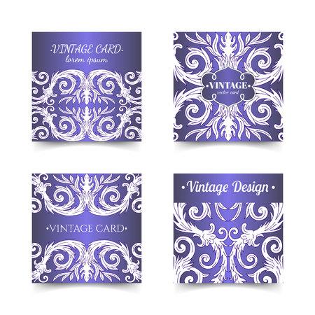 French baroque elegant ornate blue visiting cards. Luxurious fashionable ornamental flyer design. Vintage fancy ornament decoration. Pathetic retro embellishment. EPS 10 vector brochure template