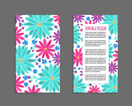 Embroidery style flyer with daisy flower bright colorful pattern. Ethnic ornamental blanks. Rustic design ornament brochures. Summer colors EPS 10 vector. Clipping masks