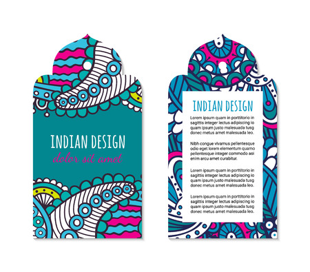 Indian badge set with bright colorful mehendi style ornament. Ethnic arabian ornamental label. Oriental tag design concept. Asian brochure template. Eastern collection. EPS 10 vector.