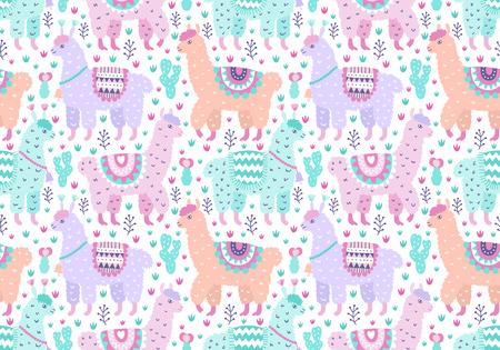 Seamless vector alpaca ornamental pattern