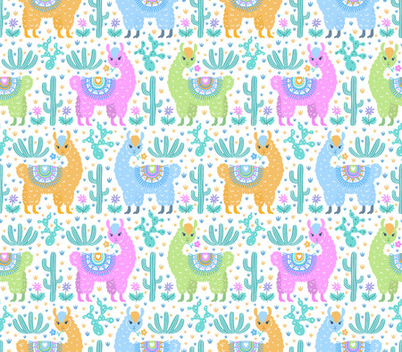 Seamless vector ornamental fashion design pattern. Cute animalistic, floristic hand drawn doodle graphic trendy background for textile print, wallpaper, wrapping paper. EPS 10 colorful illustration