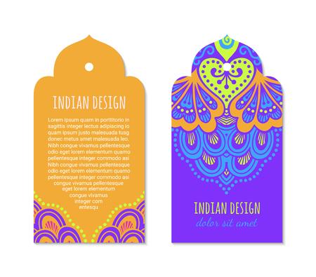 Indian badge set with bright mehendi mandala ornament. Ethnic arabian ornamental label. Oriental tag design concept. Asian brochure template. Eastern style. EPS 10 vector. Ilustración de vector