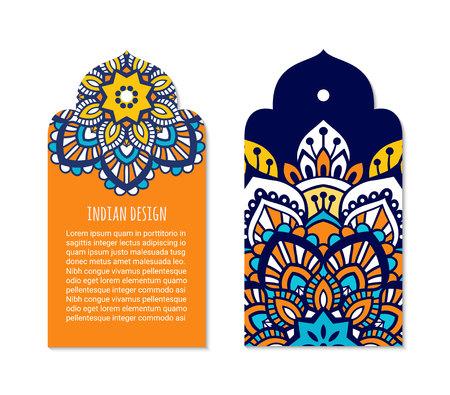 Insignia india con adorno de mandala mehendi brillante. Etiqueta ornamental étnica árabe. Concepto de diseño de etiqueta oriental. Plantilla de folleto asiático. Estilo oriental. Vector EPS 10.