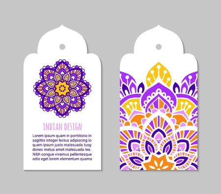 Indian badge set with bright mehendi mandala ornament. Ethnic arabian ornamental label. Oriental tag design concept. Asian brochure template. Eastern style. EPS 10 vector. Illustration
