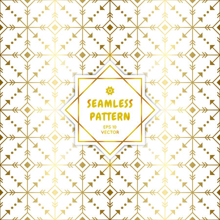 Gradient gold white seamless aztec pattern. Golden arrow geometric occult cosmic line art signs for fabric prints, surface textures, cloth design, wrapping paper. EPS10 vector backdrop.