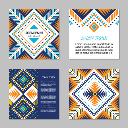 Aztec style colorful square card set. American indian pattern design. Ornamental collection with ethnic motifs. Tribal decorative flyer template. EPS 10 vector concept. Ilustração