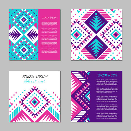 Aztec style colorful square card set. American indian pattern design. Ornamental collection with ethnic motifs. Tribal decorative flyer template. EPS 10 vector concept.