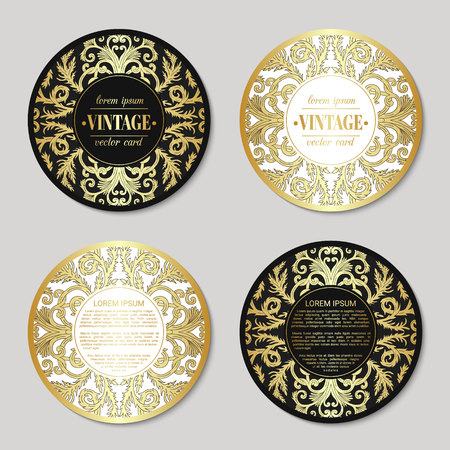 French baroque elegant ornate round visiting cards. Luxurious fashionable ornamental flyer design. Vintage fancy ornament decoration. Pathetic retro embellishment. Circle vector brochure template