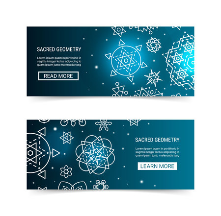 Sacred geometry ornament luminous shiny galaxy star modern futuristic banner set. Cosmic design blue luminescent glow ornamental background template. EPS 10 vector backdrop. Clipping masks