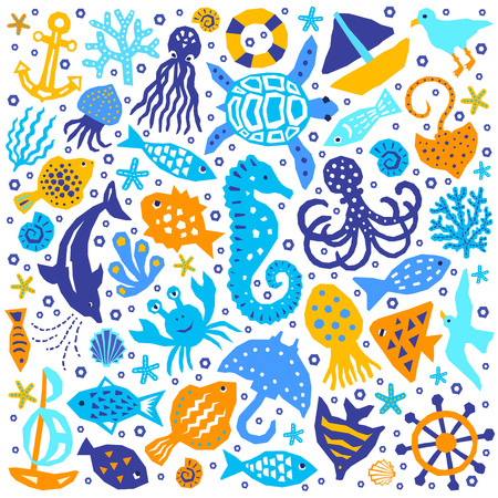 Seaworld paper cutout marine style kids design elements. Funny cartoon doodle background of fish, octopus, gull, shell, calmar, starfish, jellyfish, guitarfish. EPS 10 vector illustration Banco de Imagens - 123284667