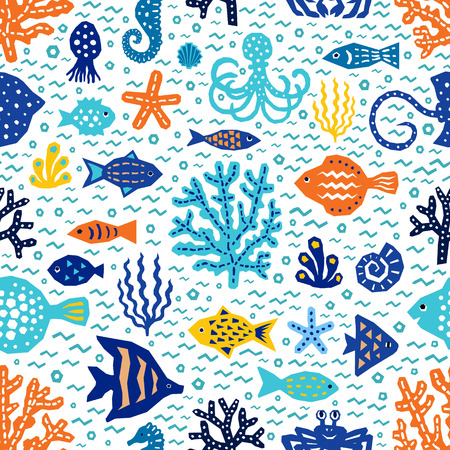 Seaworld seamless pattern of paper cutout marine style design elements. Endless funny cartoon background for kids cloth textile print, wallpaper, wrapping. EPS 10 vector illustration Ilustração