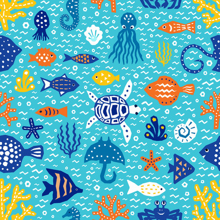 Seaworld patterned elements. Textile print, wallpaper, wrapping. Fish, tortoise, seaweed EPS 10 vector Banco de Imagens - 121493347