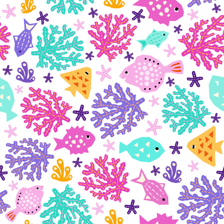 Seaworld seamless pattern of paper cutout marine style design elements. Endless funny cartoon background for kids cloth textile print, wallpaper, wrapping. EPS 10 vector illustration