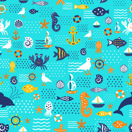 Seaworld design pattern. Textile, childish wallpaper, wrapping. EPS 10 vector illustration