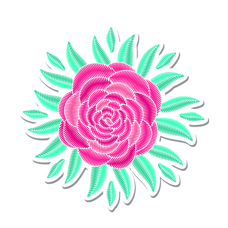 Embroidered floristic summer decorative composition. Needlework illustration. Pink peony flower motive. EPS 10 vector embroidery pion fashion template. Illustration