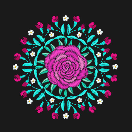 Round embroidered decorative composition. Needlework illustration. Peony flower motive. EPS 10 vector embroidery fashion design template. Illustration