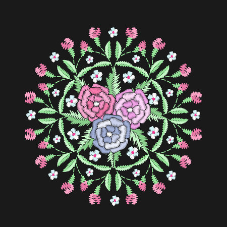 Round embroidered floristic decorative composition. Ethnic style satin stitch needlework illustration. Bunch of flowers summer motive. Vintage bouquet vector embroidery bloom design template.