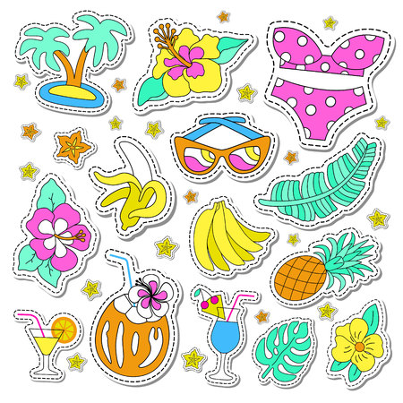 Hawaiian retro patch set. Fashionable pins 80s-90s style. Colorful drawings of fruits, drinks, beach wear, leaves, exotic flowers. EPS 10 vector illustration.