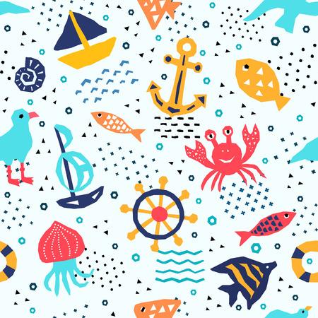 Sea world design pattern. Textile, childish wallpaper, wrapping.