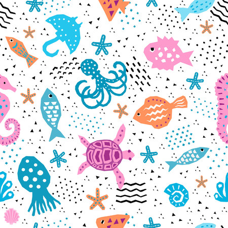 Sea world design pattern. Textile, childish wallpaper, wrapping.