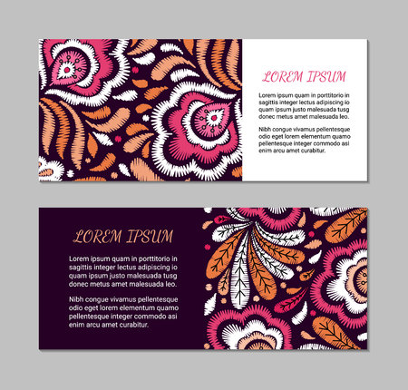 Embroidery style horizontal cards with bright colorful flower and leaf pattern. Ethnic blanks. Rustic design brochures inspired by russian khokhloma ornament.