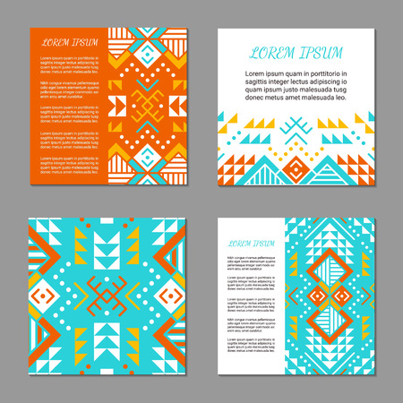 Aztec style colorful square card set. American indian pattern design. Ornamental collection with ethnic motifs. Tribal decorative flyer template.
