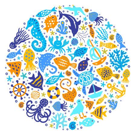 World of the sea paper cutout marine style kids design element set. Funny cartoon doodle background of fish, octopus, gull, shell, calmar, starfish, jellyfish, guitarfish. EPS 10 vector illustration
