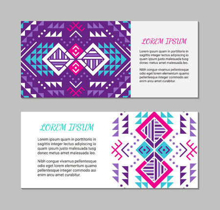 Aztec style horizontal colorful card set. American indian pattern design. Ornamental collection with ethnic motifs. Tribal decorative flyer template. Ilustração