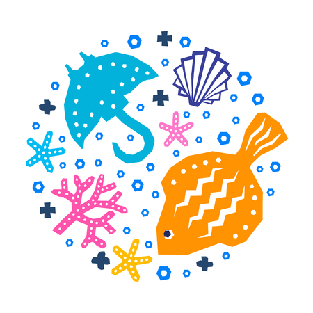 World of the sea paper cutout marine style kids design element set. Funny cartoon doodle fish, shellfish, algae, guitar fish, starfish background.