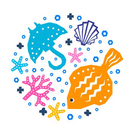 World of the sea paper cutout marine style kids design element set. Funny cartoon doodle fish, shellfish, algae, guitar fish, starfish background.