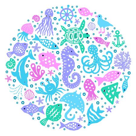 World of the sea paper cutout marine style kids design element set. Funny cartoon doodle background of fish, octopus, gull, shell, calmar, starfish, jellyfish, guitarfish. EPS 10 vector illustration 写真素材 - 123515110