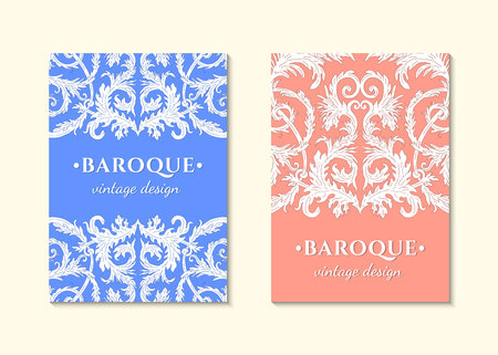 French baroque style elegant ornate visiting cards. Luxurious fashionable ornamental flyer design. Vintage fancy ornament decoration. Pathetic retro embellishment.