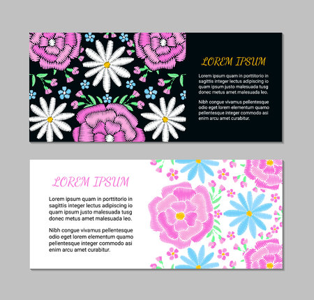 Embroidery vintage style horizontal card set with colorful spring flower and leaf pattern. Ethnic ornamental blanks. Rustic design ornament brochures. EPS 10 vector. Clipping masks Ilustração