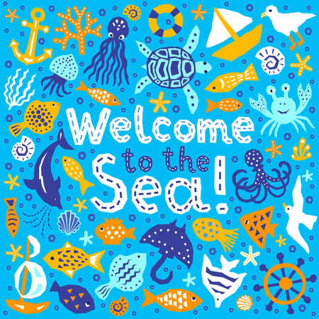 Paper cutout marine style kids design element set. Welcome to the Sea lettering phrase. Funny cartoon doodle fish, octopus, gull, shell, calmar, starfish, jellyfish, guitarfish vector illustration